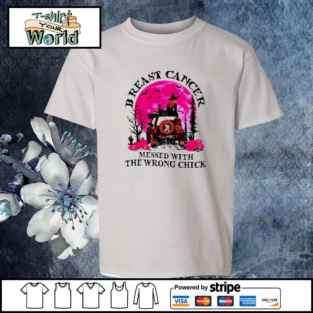 Breast cancer messed with the wrong chick halloween s youth-tee