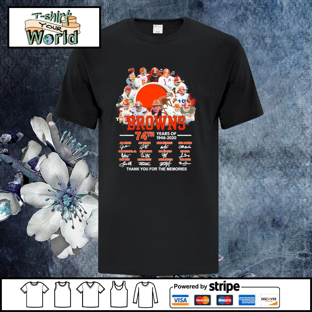 Browns 74th years of 1946 2020 thank you for the memories shirt