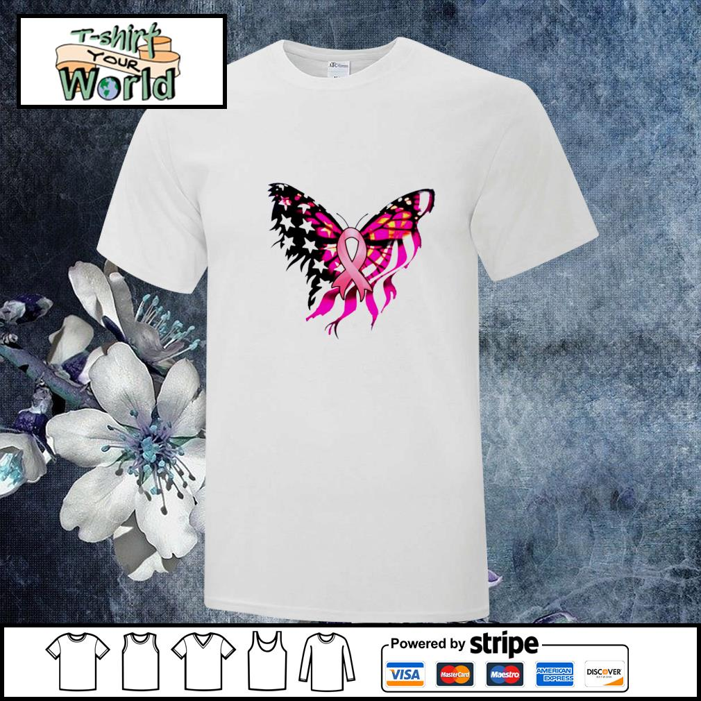 Butterfly breast cancer american flag shirt