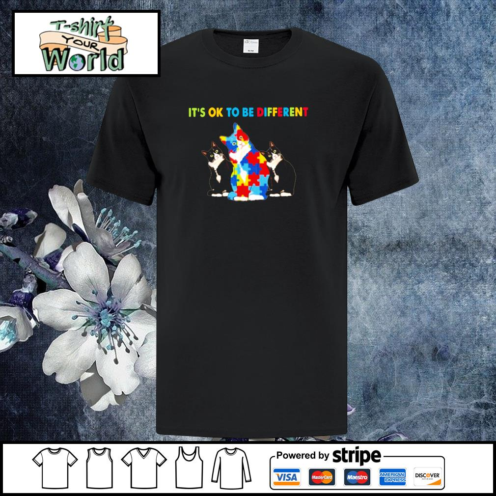 Cat It_s ok to be different autism shirt