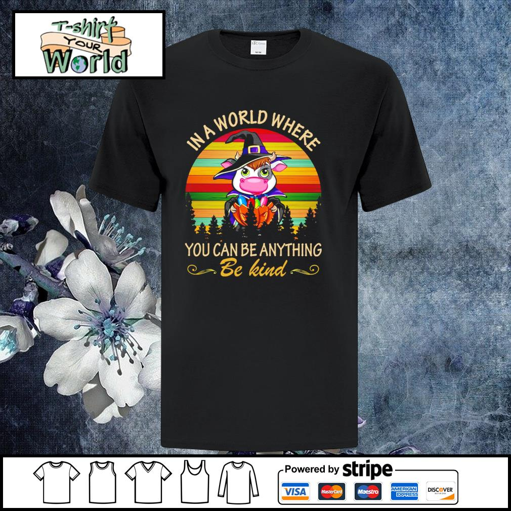 Cow in a world where you can be anything be kind halloween vintage shirt