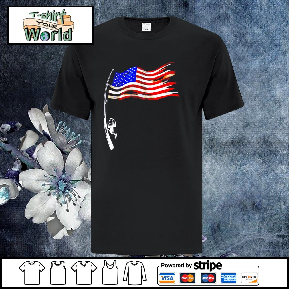 Fishing american flag shirt