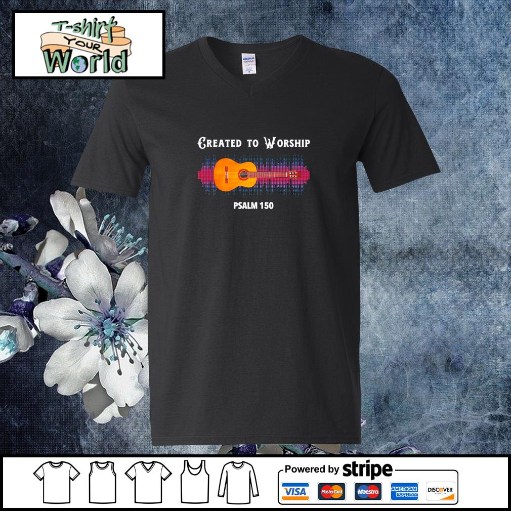 Guitar created to worship psalm 150 s v-neck-t-shirt