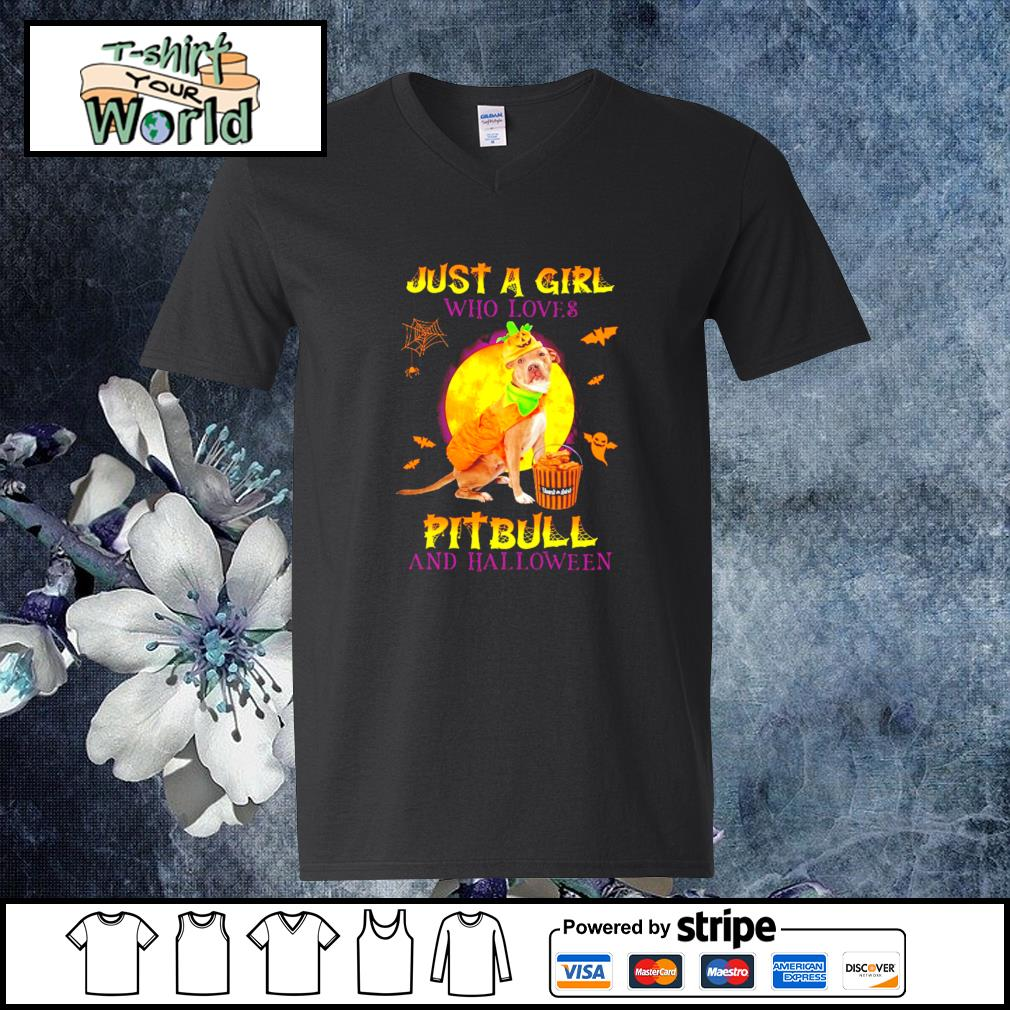 Just a girl who loves pitbull and halloween s v-neck-t-shirt