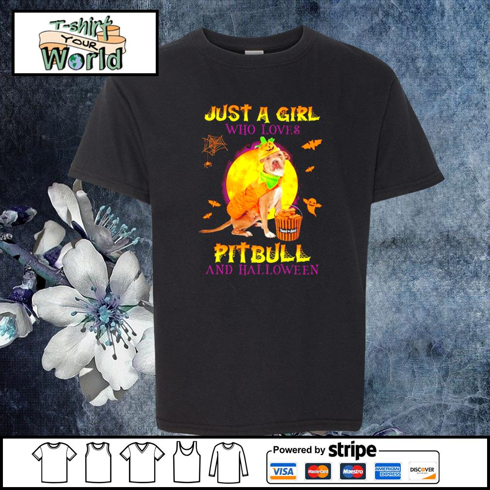 Just a girl who loves pitbull and halloween s youth-tee