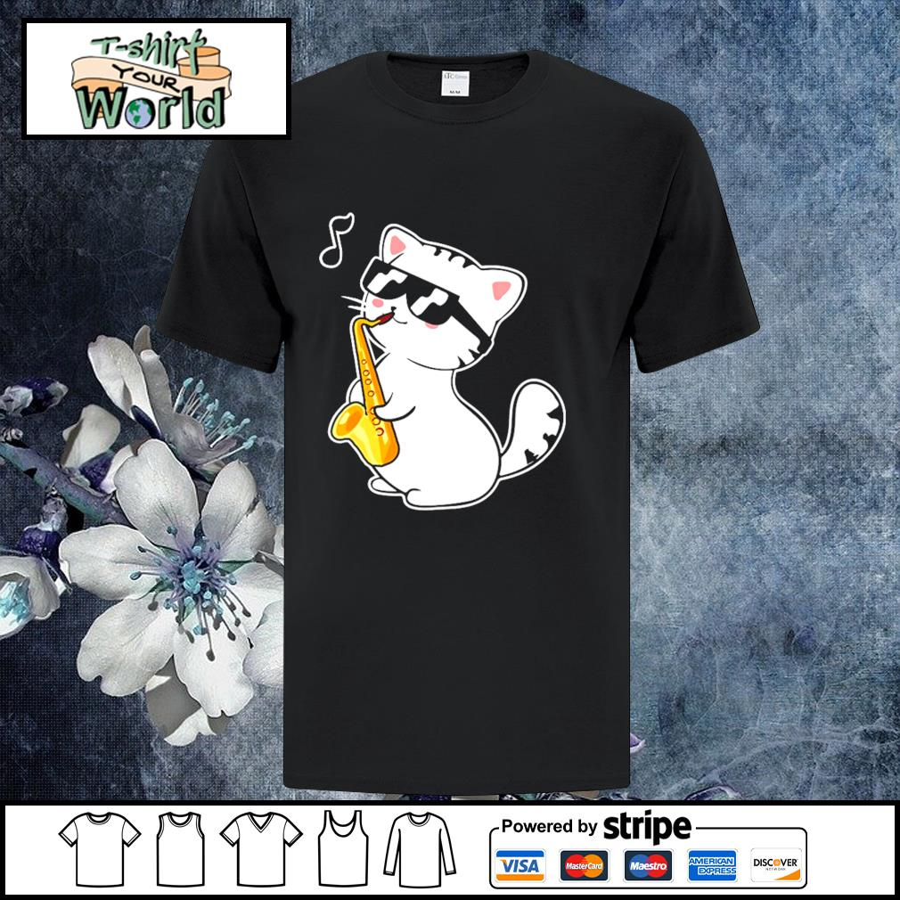 Kitten playing saxophone shirt