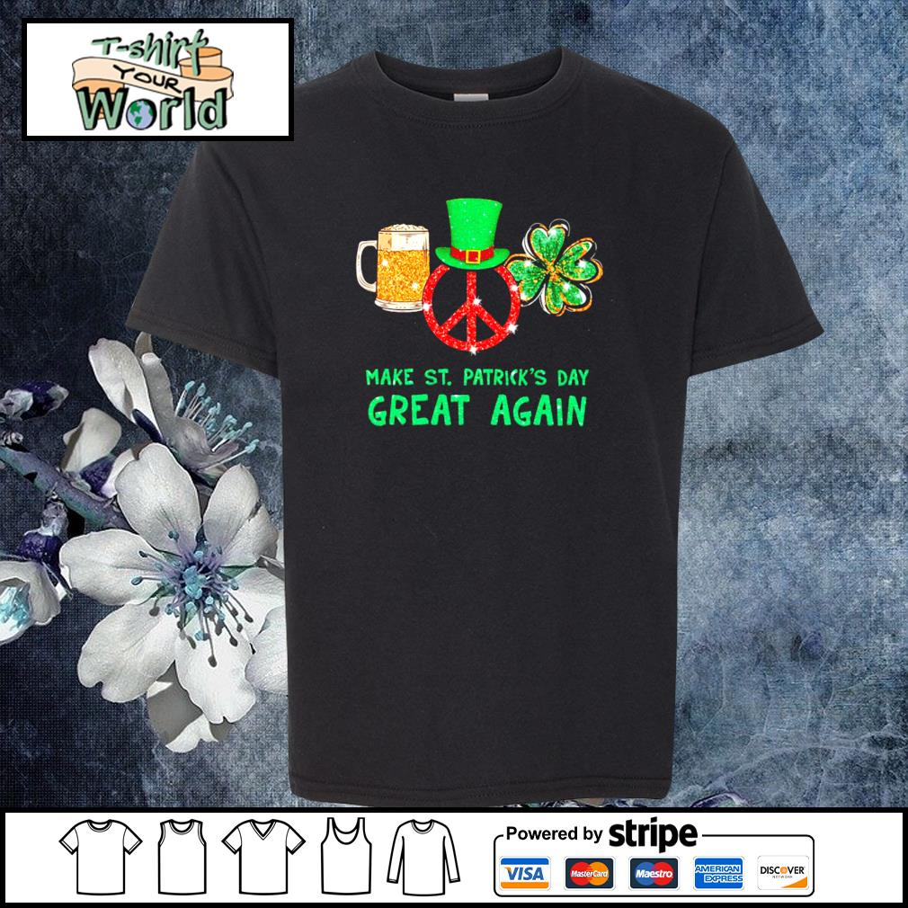 Peace love bear make st patrick's day great again s youth-tee