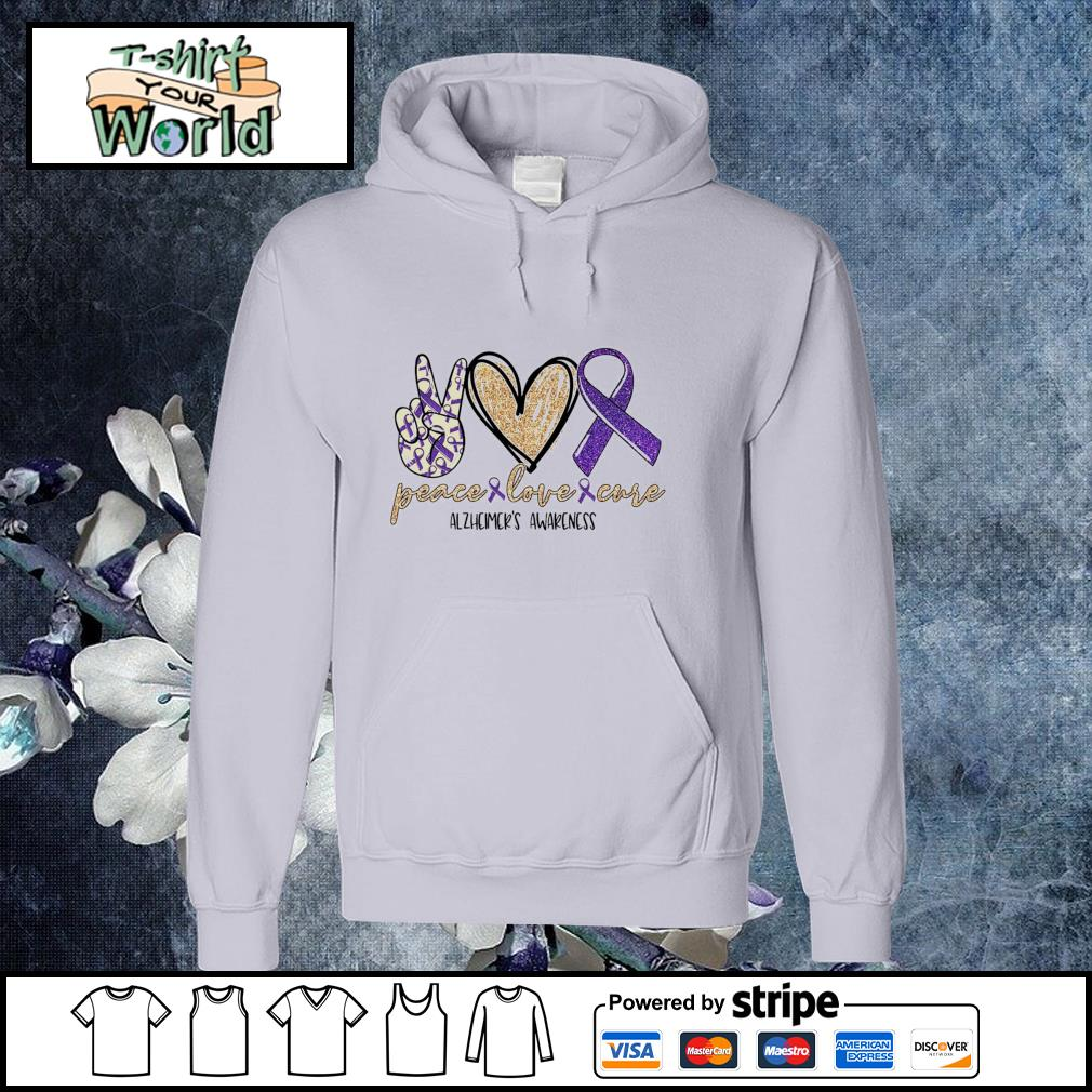 Peace love cure alzheimer's awareness s hoodie