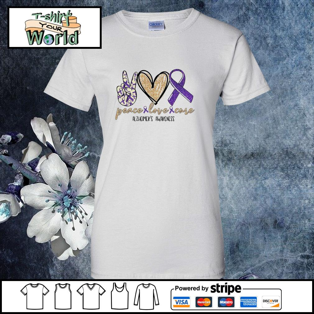 Peace love cure alzheimer's awareness s ladies-tee
