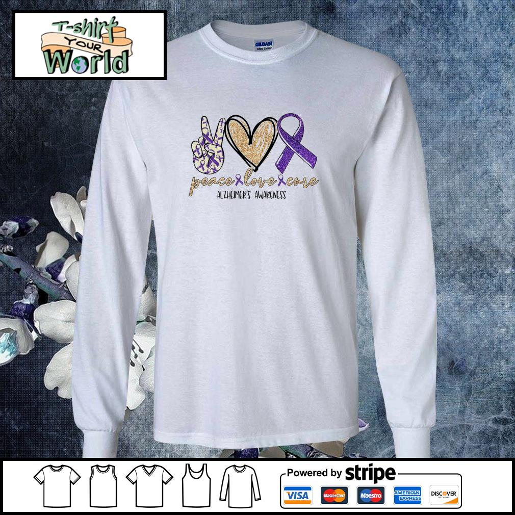 Peace love cure alzheimer's awareness s longsleeve-tee