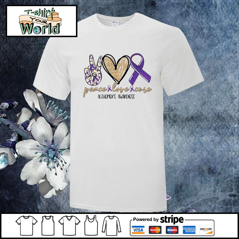 Peace love cure alzheimer's awareness shirt