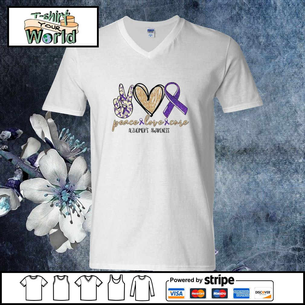 Peace love cure alzheimer's awareness s v-neck-t-shirt