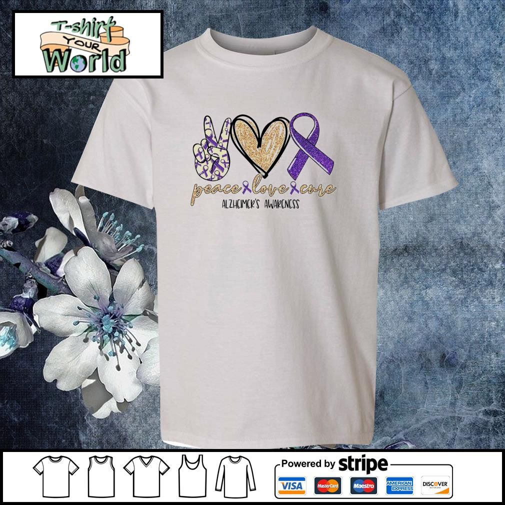 Peace love cure alzheimer's awareness s youth-tee