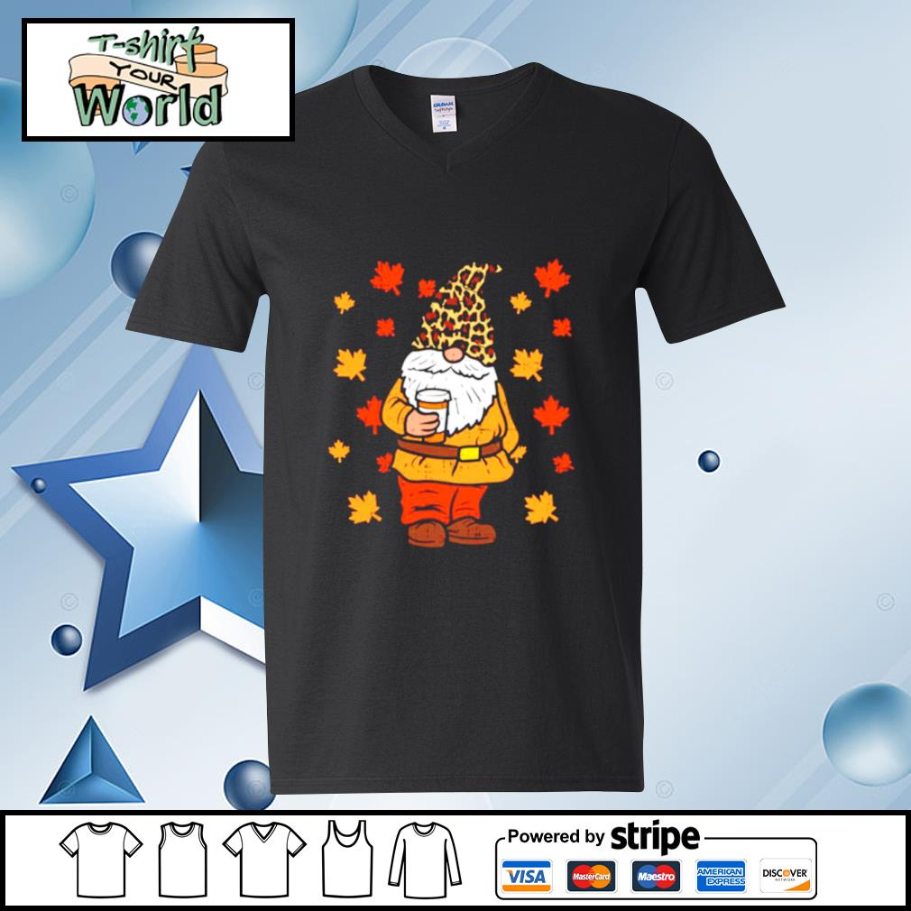 Fall Gnome Coffee Leopard Hat Halloween Thanksgiving Autumn s v-neck t-shirt
