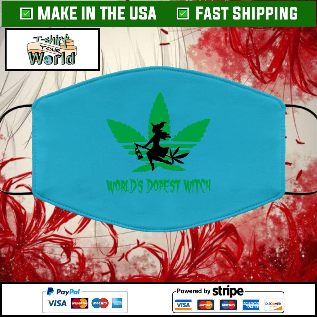 Weed world's dopest witch adidas Halloween Cloth Face Mask Washable blue