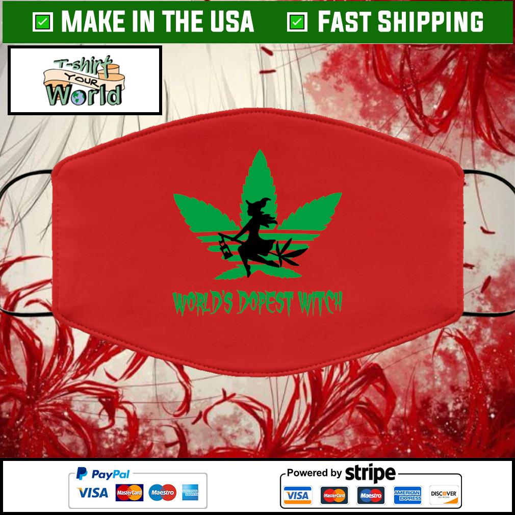 Weed world's dopest witch adidas Halloween Cloth Face Mask Washable red