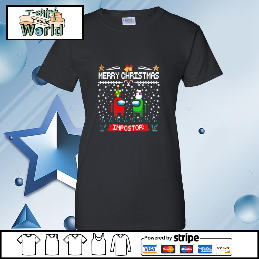 Impostor Imposter Among Game Us Sus Merry Christmas s ladies tee