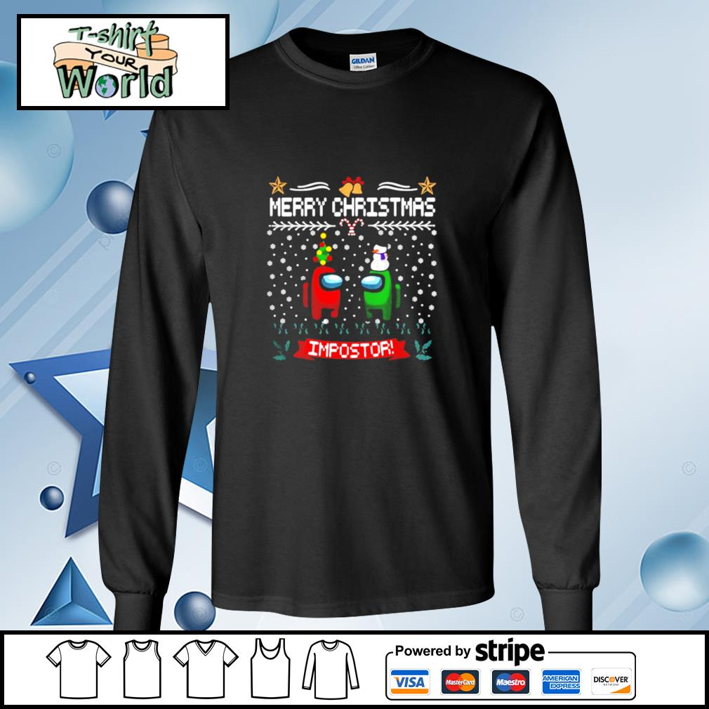 Impostor Imposter Among Game Us Sus Merry Christmas s longsleeve-tee