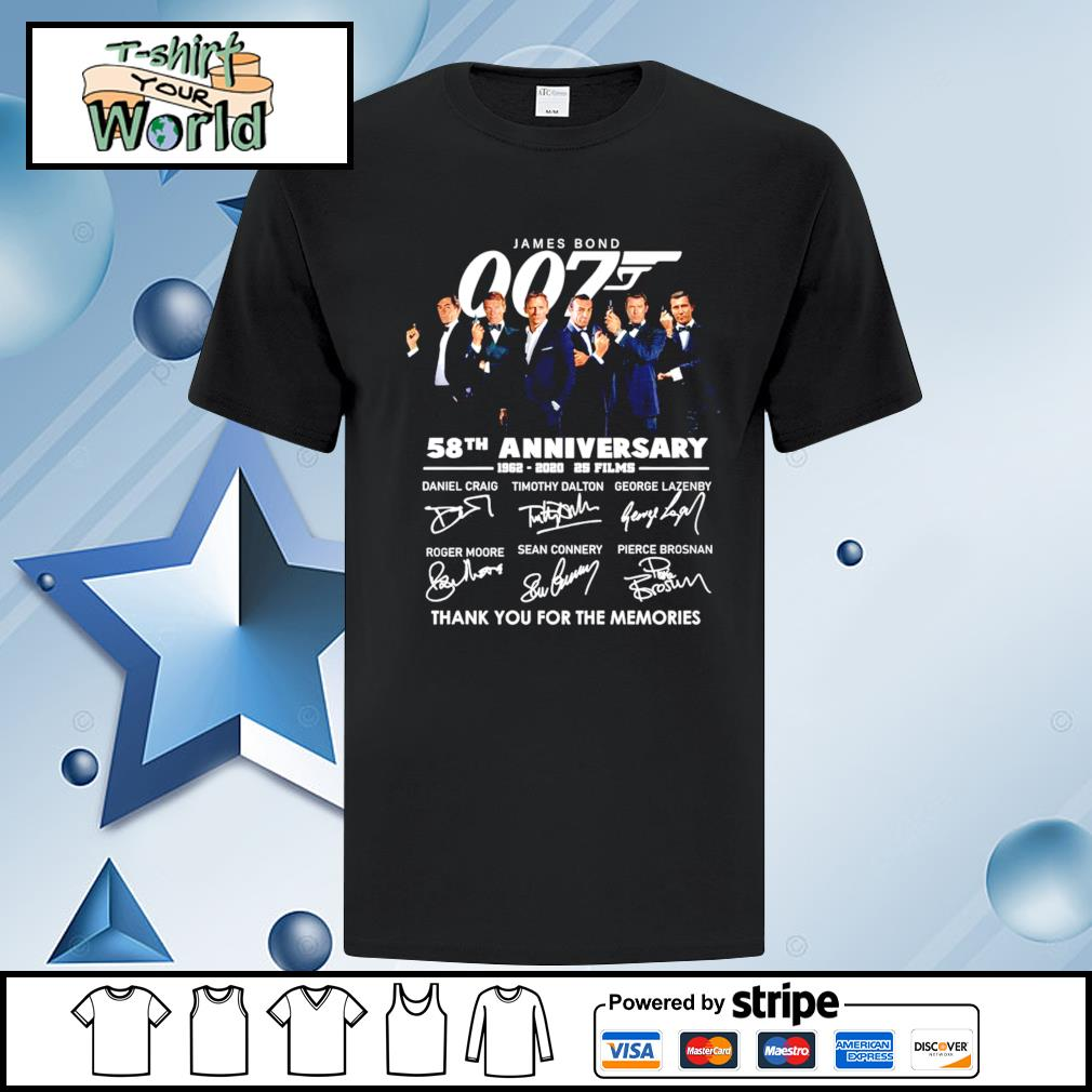 James Bond 007 58th anniversary 1962 2020 25 films thank you for the memories shirt