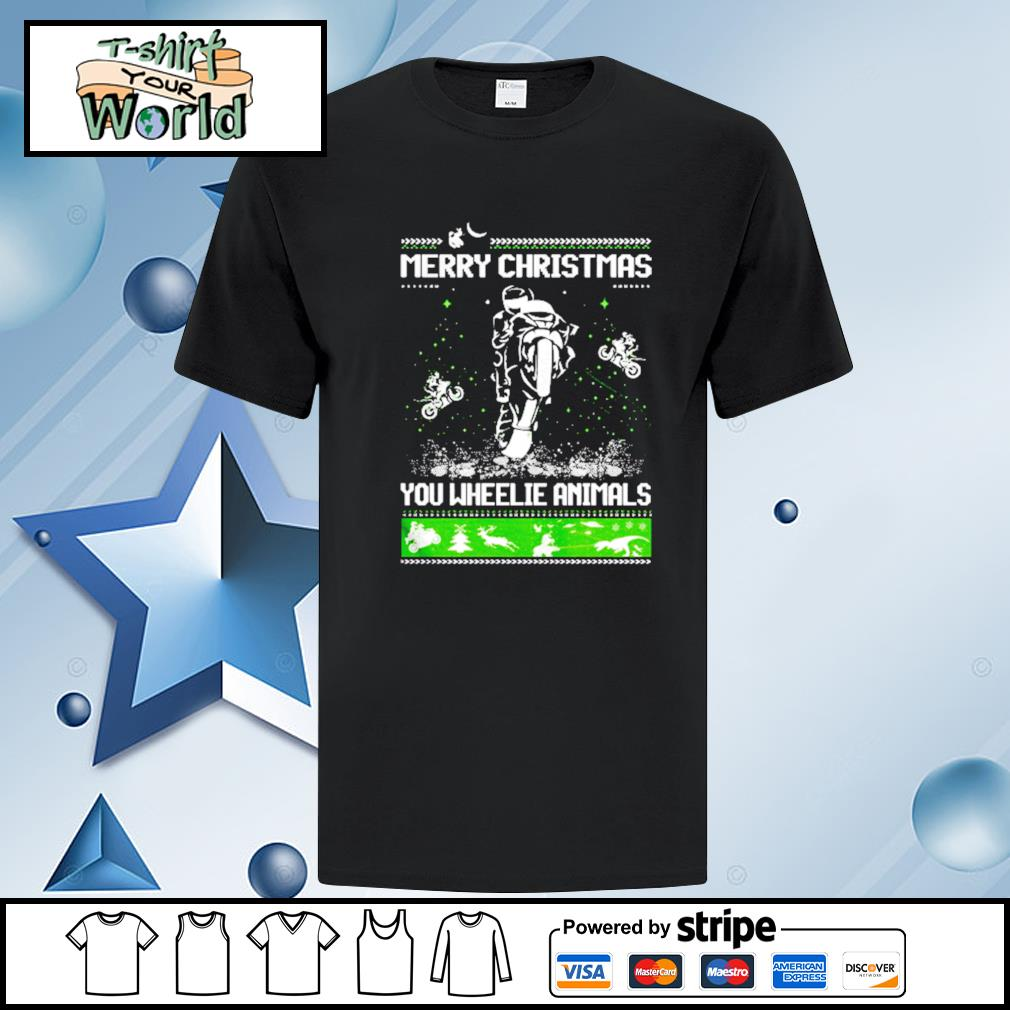 Motorcycle Merry Christmas You Wheelie Animals Ugly Christmas shirt