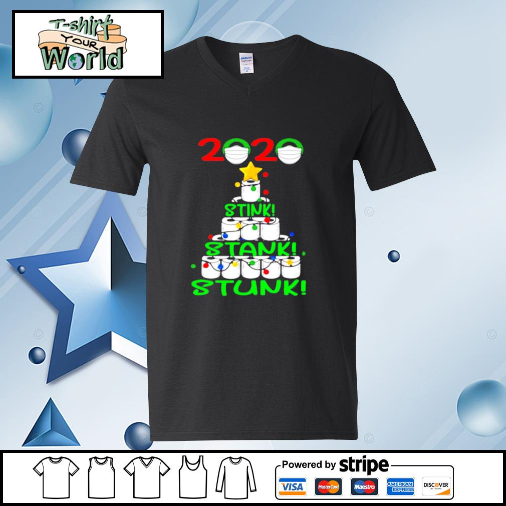 2020 Stink Stank Stunk Funny Quarantine Ugly Christmas Tree s v-neck-t-shirt