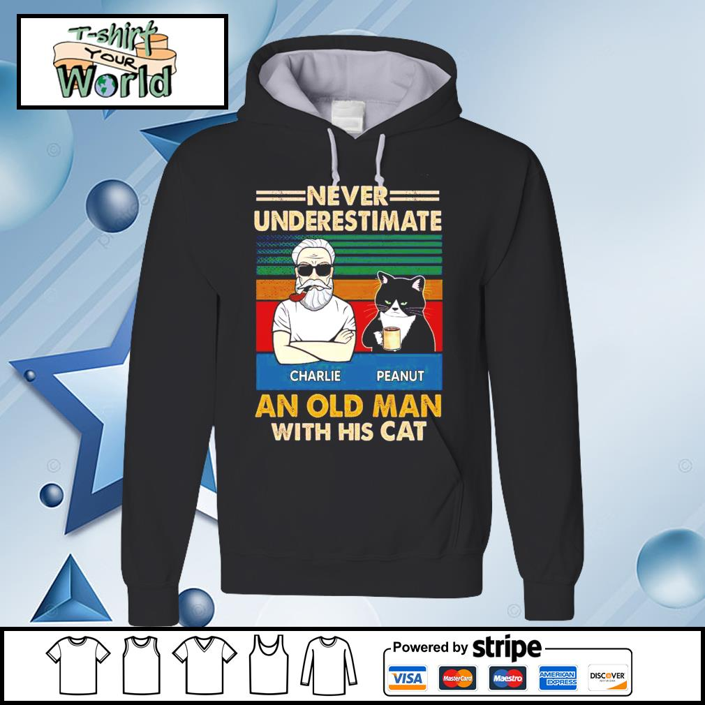 Personalized Never Underestimate An Old Man With His Cats vintage Shirt hoodie