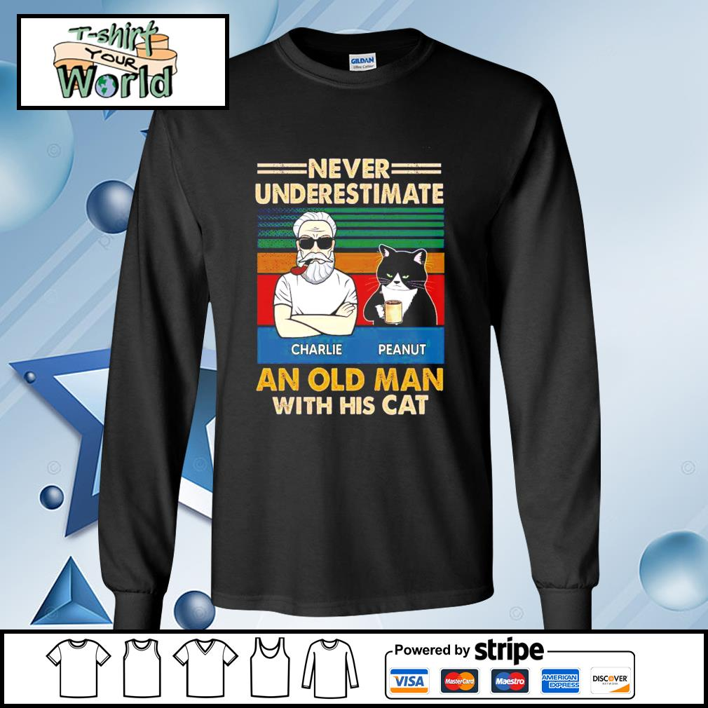 Personalized Never Underestimate An Old Man With His Cats vintage Shirt longsleeve-tee