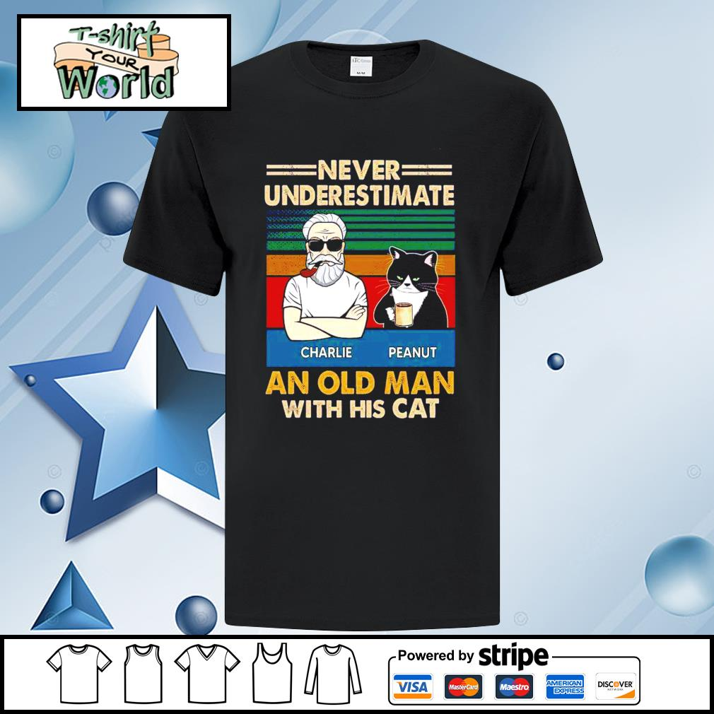 Personalized Never Underestimate An Old Man With His Cats vintage Shirt