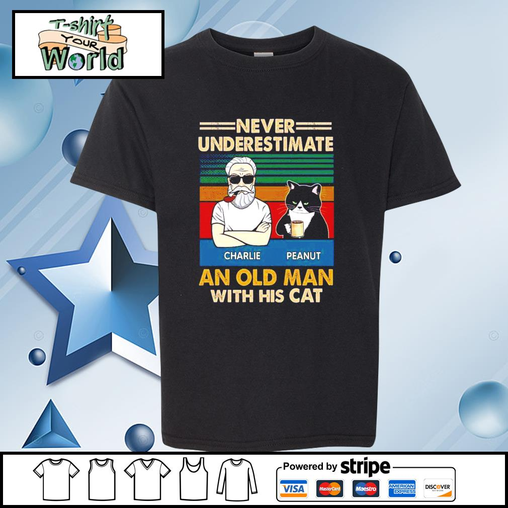 Personalized Never Underestimate An Old Man With His Cats vintage Shirt youth-tee