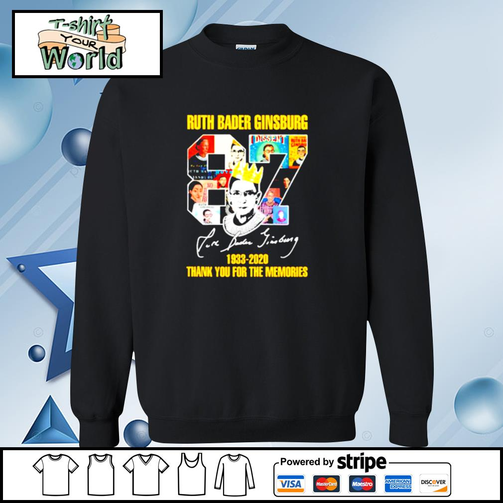 Ruth bader ginsburg crown 87 years 1933 2020 thank you for the memories signature s sweater