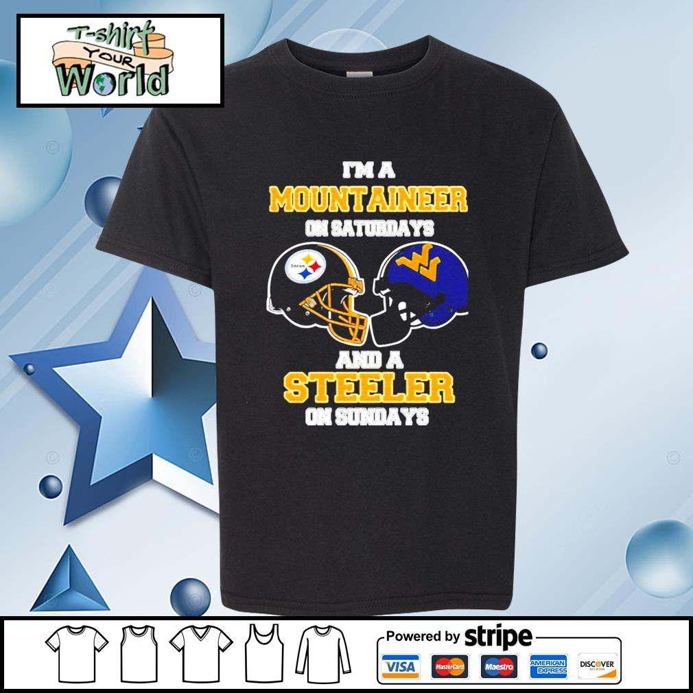 I'm A West Virginia Mountaineers On Saturdays And A Pittsburgh Steelers On Sundays s youth-tee