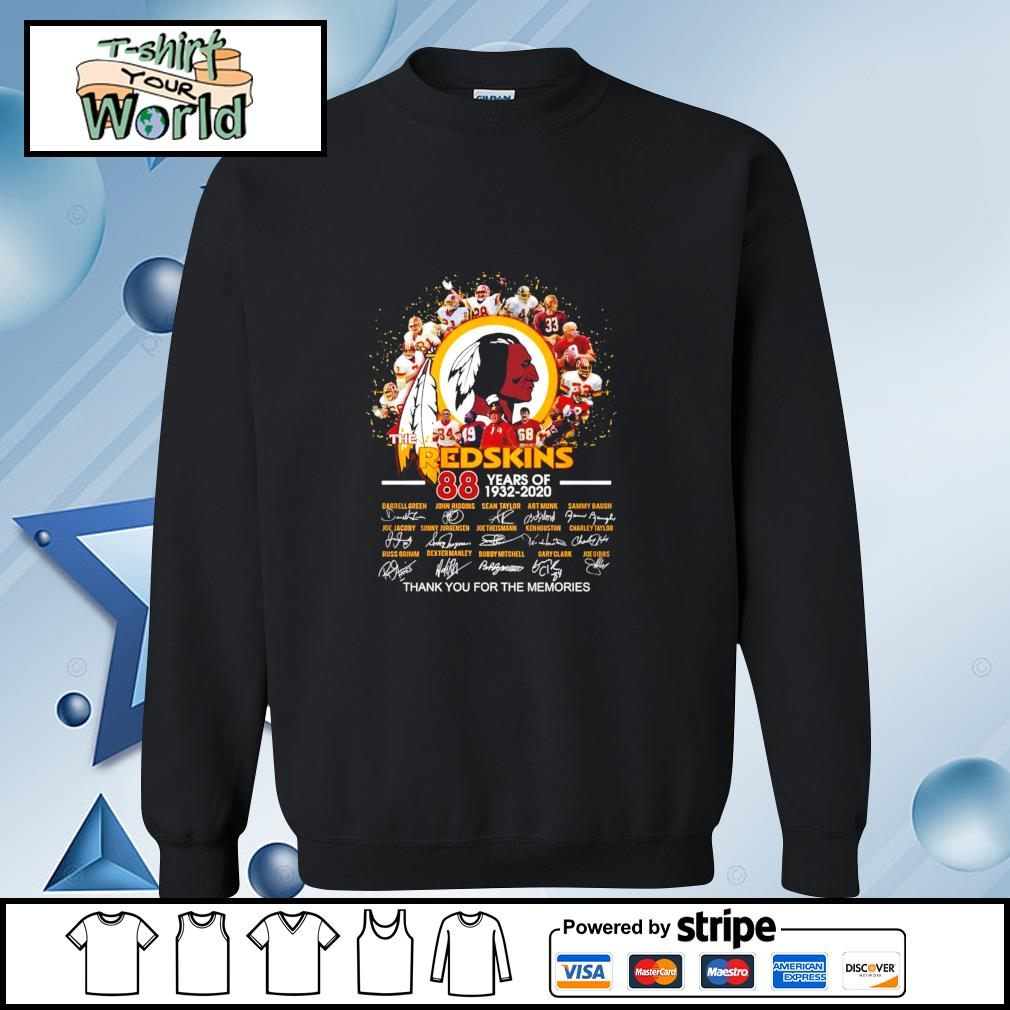 The Redshins 88 years of 1932-2020 signature thank you for the memories s sweater